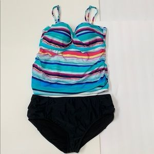 2Bamboo Multicolored Tankini Swimsuit NWOT Sz. L